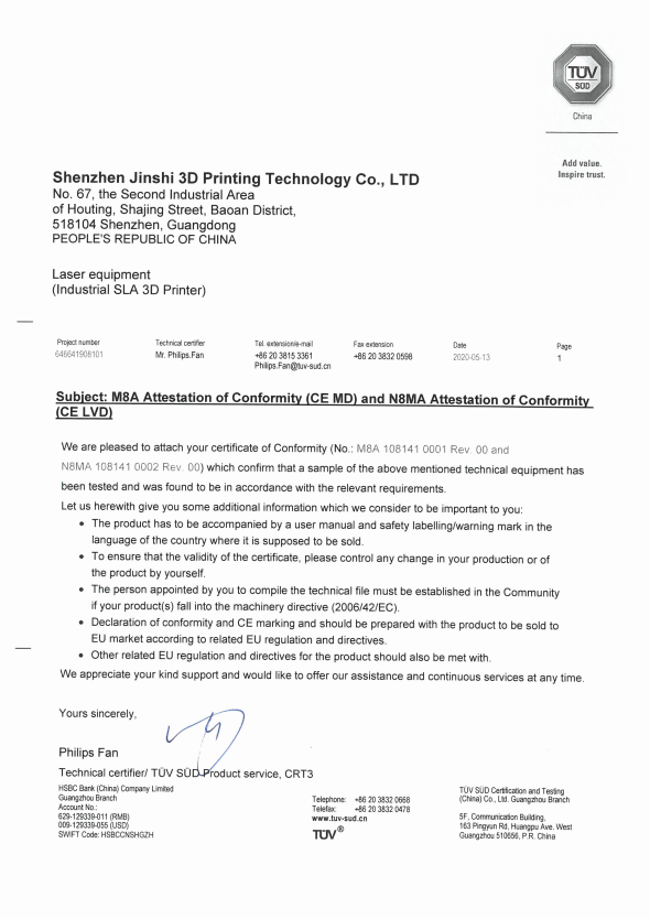 First 3D Printer Manufacturer in China Honored with CE Certificate by TÜVSÜD